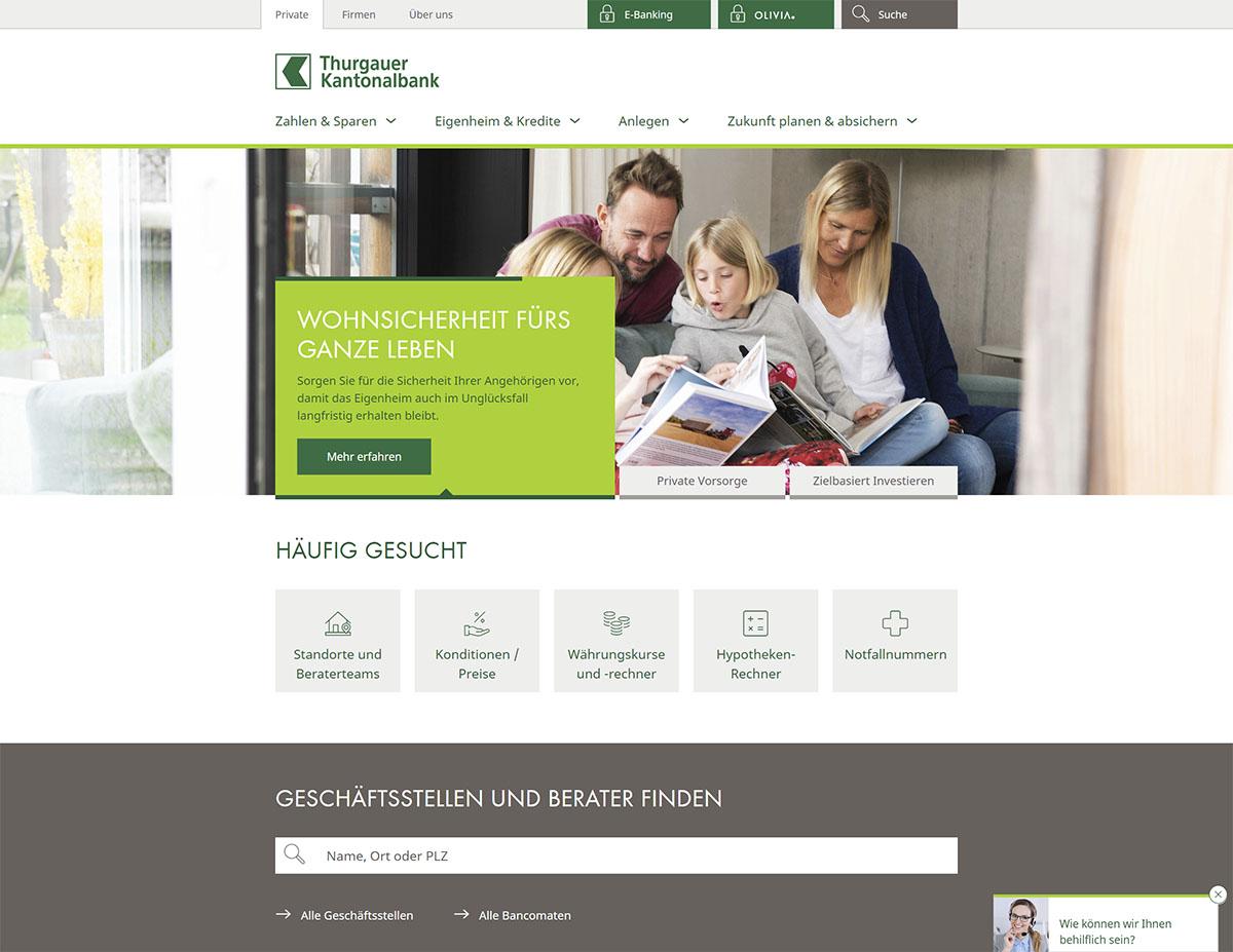 Neue Website Thurgauer Kantonalbank